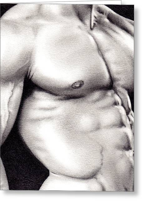 Male Torso Study Greeting Card by Rudy Nagel