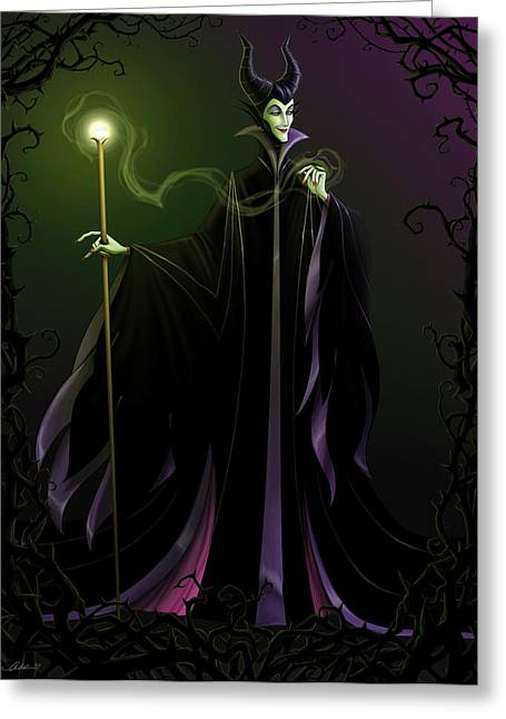 Spelled Greeting Cards - Maleficent Greeting Card by Christopher Ables