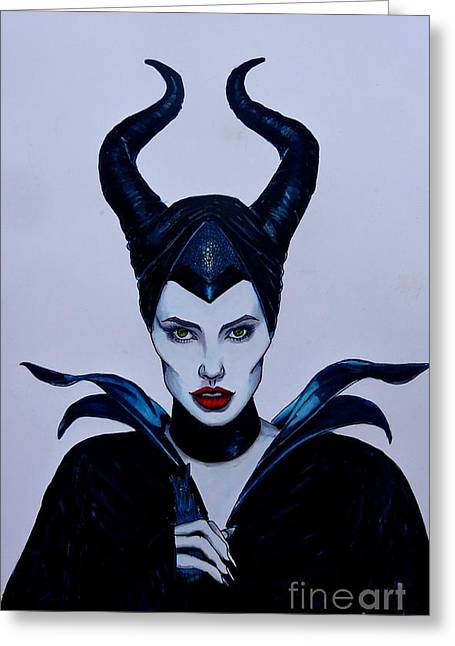 Pen And Ink Drawing Greeting Cards - Maleficent Greeting Card by Justin Moore