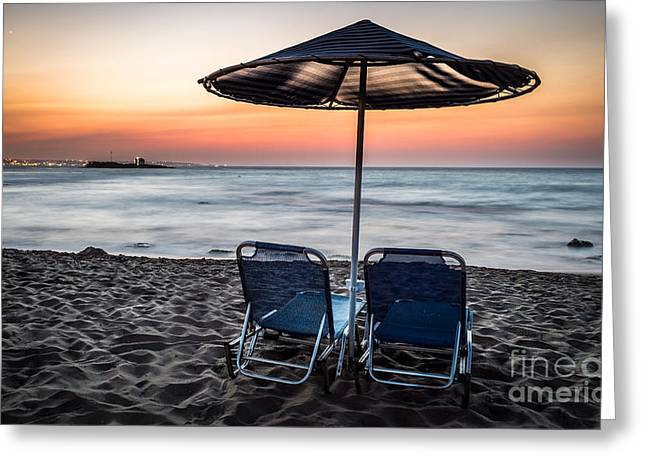 Malia Greeting Cards - Malia beach after sunset Greeting Card by Androklis Nerantzoulis
