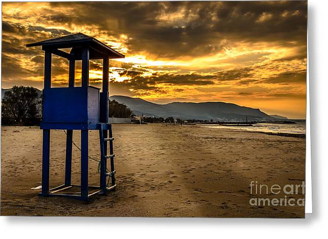 Malia Greeting Cards - Malia beach sunset 4 Greeting Card by Androklis Nerantzoulis
