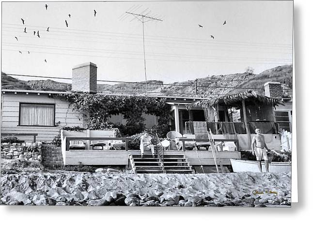 Pot Boat Greeting Cards - Malibu Beach House - 1960 Greeting Card by Chuck Staley