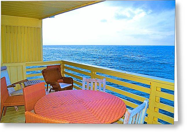 Mystical Landscape Greeting Cards - Malibu Beach House Patio View Greeting Card by Tommi Trudeau
