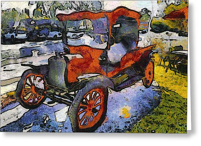 Winery Photography Greeting Cards - Malibu Family Wine Antique Red Truck Greeting Card by Barbara Snyder