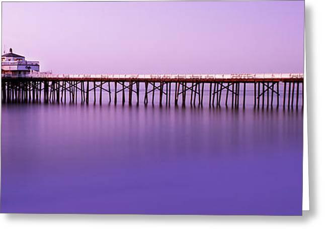 Term Greeting Cards - Malibu Pier at Sunrise Greeting Card by Steve Munch
