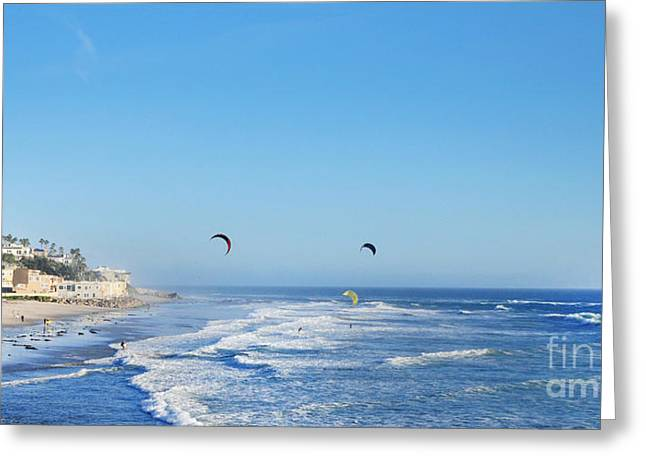 Kite Surfing Greeting Cards - Malibu Surfing  Greeting Card by Bonita Fine Art