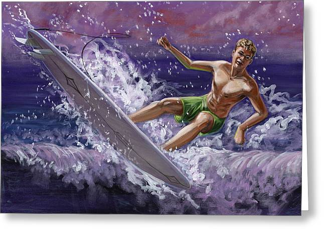 Cruz Greeting Cards - Malibu Wipeout Greeting Card by MJ Greene