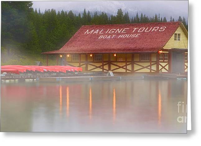 Alberta Framed Prints Greeting Cards - Malign Lake Boat House Greeting Card by Jerry Fornarotto
