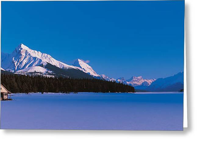 Conifer Tree Greeting Cards - Maligne Lake & Canadian Rockies Alberta Greeting Card by Panoramic Images