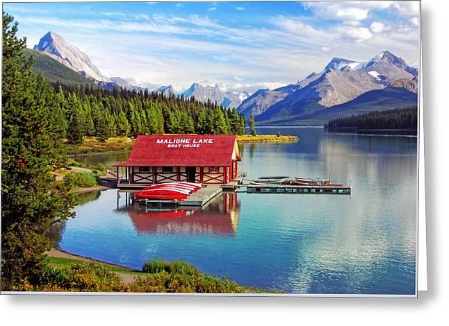 Fed Greeting Cards - Maligne Lake boathouse Greeting Card by Carolyn Derstine