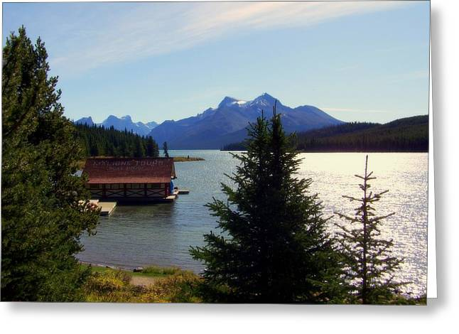 Maligne Lake Boathouse Greeting Card by KAREN WILES