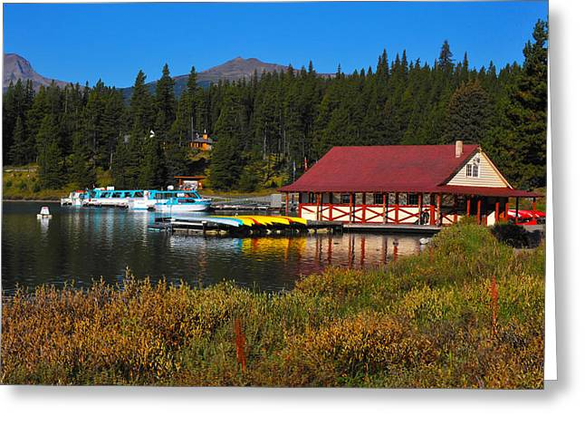 Randy Greeting Cards - Maligne Lake boathouse  Greeting Card by Randy Giesbrecht