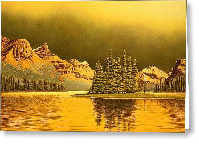 Maligne Lake Greeting Card by Conrad Mieschke
