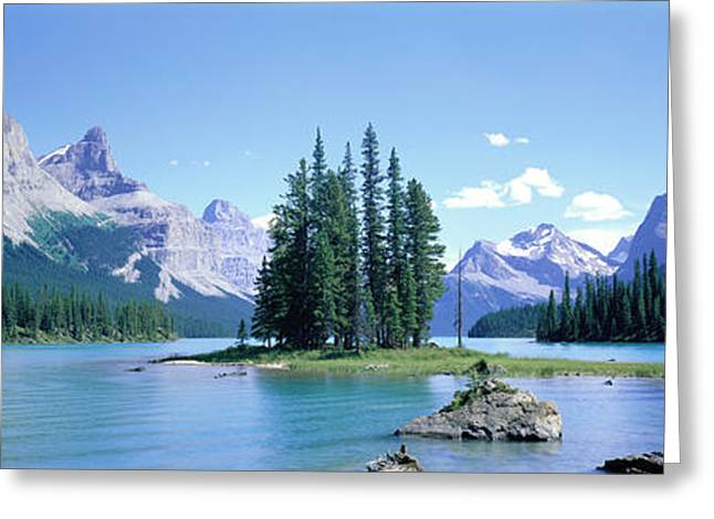 Jasper Greeting Cards - Maligne Lake Near Jasper, Alberta Greeting Card by Panoramic Images