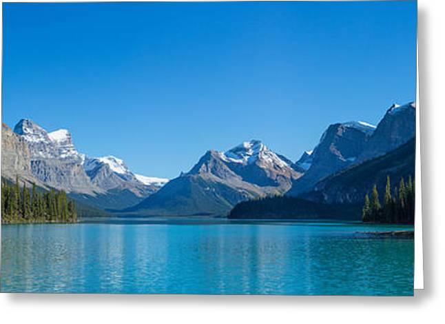 Canadian Rockies Greeting Cards - Maligne Lake With Canadian Rockies Greeting Card by Panoramic Images