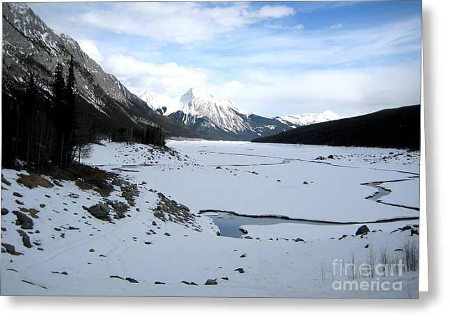 Big Chill Greeting Cards - Maligne River with Rocky Mountain Ranges in Jasper National Park Canada Greeting Card by Aeris Osborne