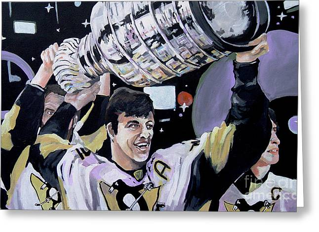 Sidney Crosby Greeting Cards - Malkin Hoisting The Cup. Greeting Card by Philip Kram