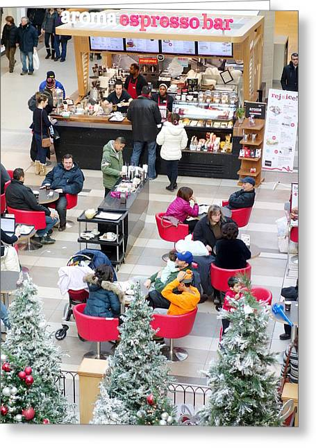 Centre Court Greeting Cards - Mall Food Court Greeting Card by Valentino Visentini