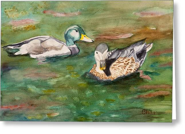 Fish Reliefs Greeting Cards - Mallard Ducks with Spawning Salmon Greeting Card by Charlotte Brux-Bolinger