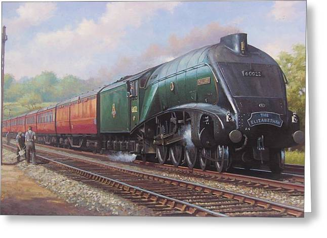 Steam Locomotive Greeting Cards - Mallard on the Elizabethan. Greeting Card by Mike  Jeffries