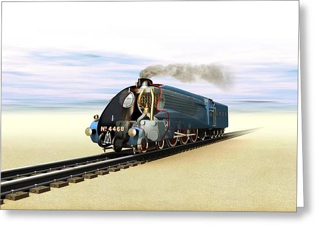World Speed Record Greeting Cards - Mallard steam locomotive, artwork Greeting Card by Science Photo Library