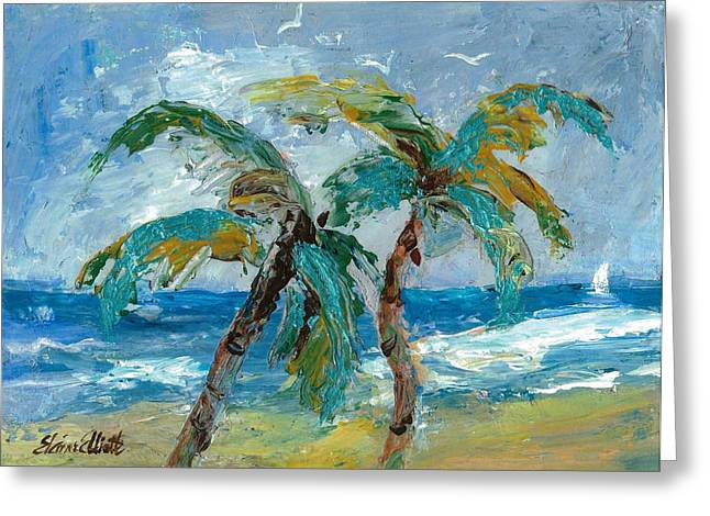 Recently Sold -  - Blue Sailboat Greeting Cards - Mallibu Palms Greeting Card by Elaine Elliott