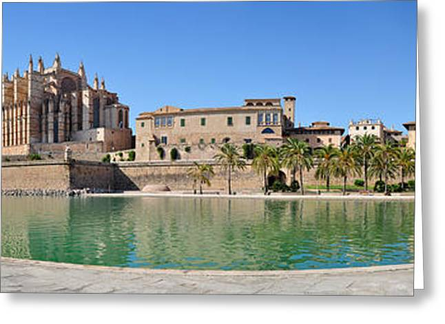 Medieval Temple Greeting Cards - Mallorca Cathedral Panorama Greeting Card by Rui Santos