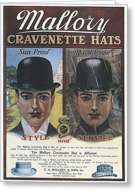 Nineteen Tens Greeting Cards - Mallory  1910s Usa Hats Mens Bowler Greeting Card by The Advertising Archives