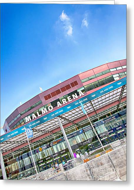 Malmo Greeting Cards - Malmo Arena 01 Greeting Card by Antony McAulay