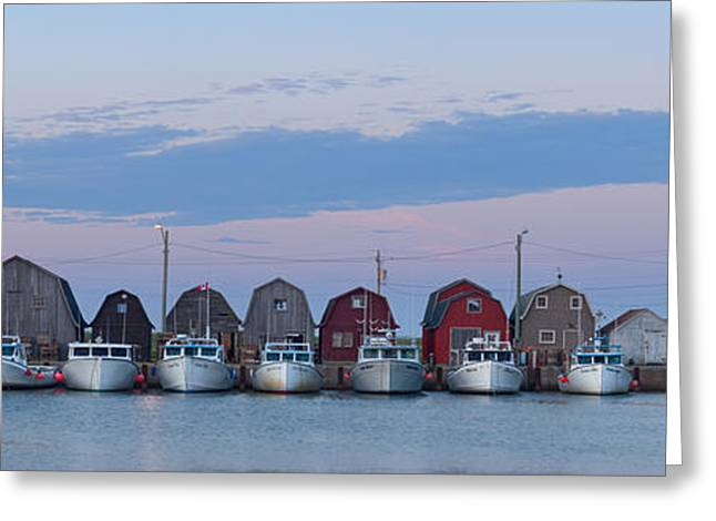 Sheds Greeting Cards - Malpeque Harbour Panorama Greeting Card by Matt Dobson
