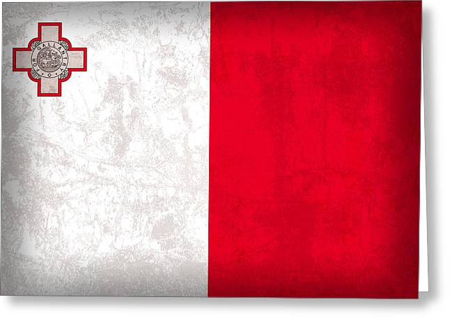 Malta Flag Vintage Distressed Finish Greeting Card by Design Turnpike