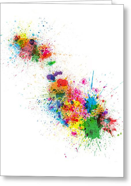 Abstract Map Greeting Cards - Malta Map Paint Splashes Greeting Card by Michael Tompsett