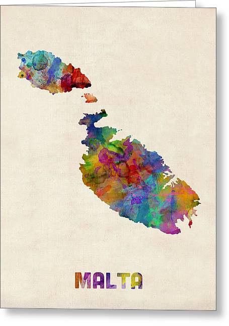 Urban Watercolor Greeting Cards - Malta Watercolor Map Greeting Card by Michael Tompsett