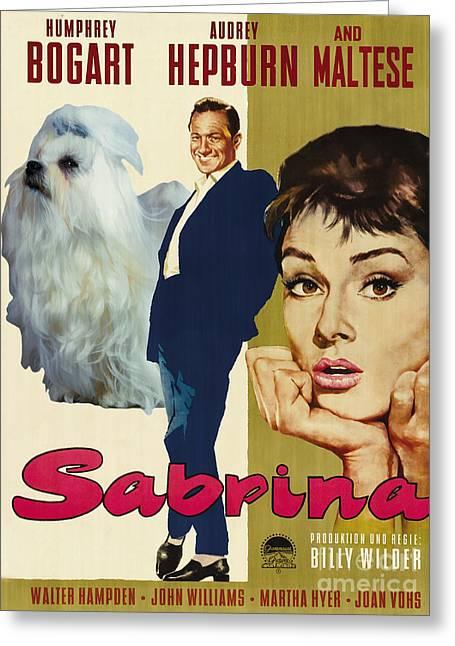 Maltese Paintings Greeting Cards - Maltese Art - Sabrina Movie Poster Greeting Card by Sandra Sij