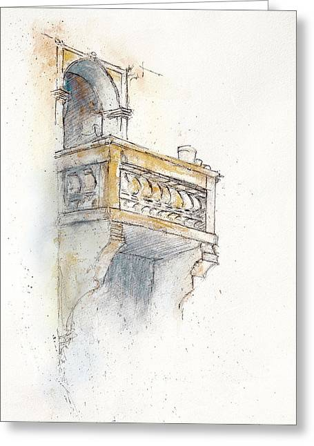 Maltese Drawings Greeting Cards - Maltese Balcony Greeting Card by Ann Stringer-Paget