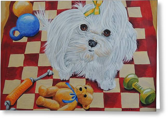Toy Maltese Greeting Cards - Maltese with toys Greeting Card by Laura Bolle