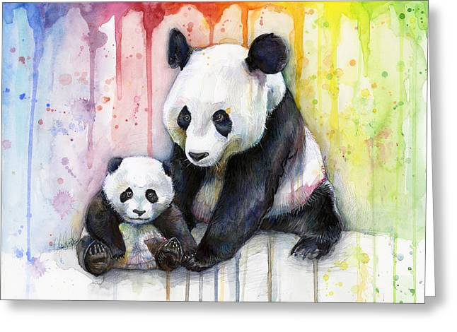 Colorful Animal Art Greeting Cards - Panda Watercolor Mom and Baby Greeting Card by Olga Shvartsur