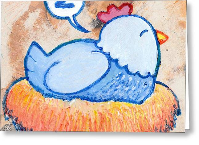 Tennessee Farm Drawings Greeting Cards - Mama Hen On Nest Greeting Card by Lucas T Antoniak