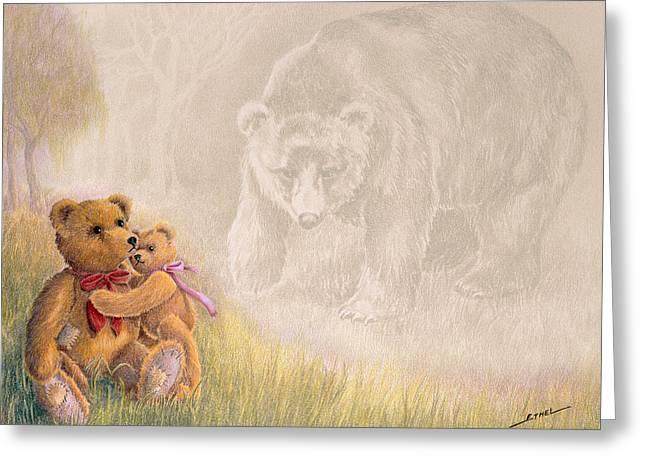 Bear Drawings Greeting Cards - Mama I Saw a Big Bear Greeting Card by Ethel Quelland