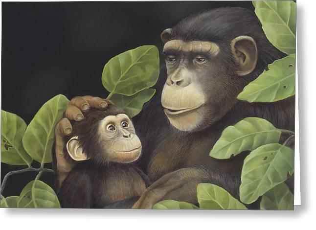Chimpanzee Paintings Greeting Cards - Mama Mama Chimps Greeting Card by Laura Regan