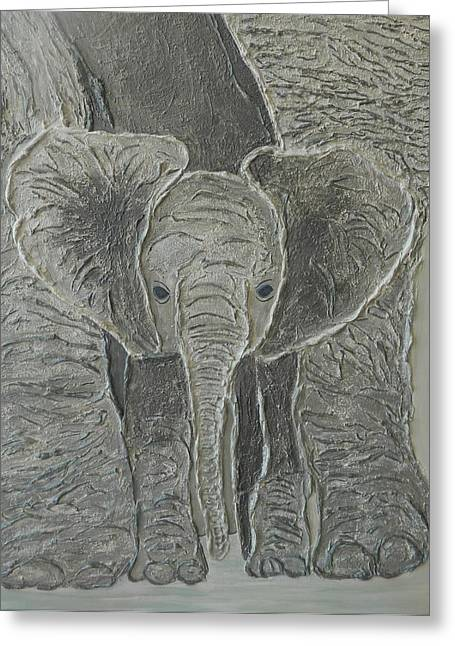 Contemporary Art Reliefs Greeting Cards - Mama s  Protector Greeting Card by Liza Wheeler
