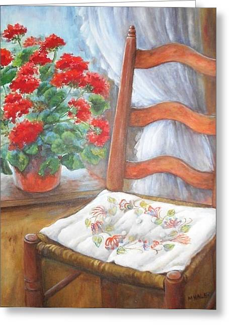 Red Geraniums Greeting Cards - Mamas Chair Cushion Greeting Card by Mary Jane Haley