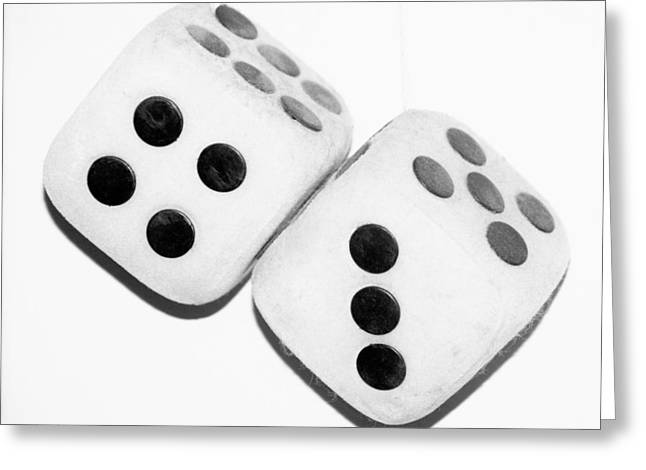 Game 7 Greeting Cards - MAMAS DUSTY DICE in BLACK AND WHITE Greeting Card by Rob Hans
