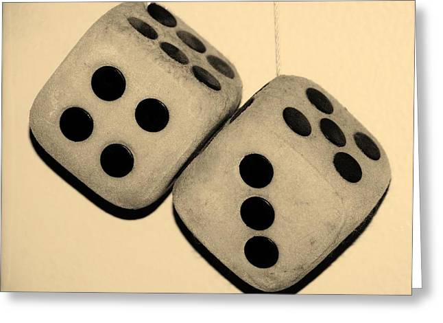 Game 7 Greeting Cards - MAMAS DUSTY DICE in SEPIA Greeting Card by Rob Hans