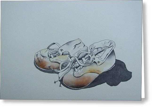 Ramona Kraemer-dobson Greeting Cards - Mamas First Shoes-cira1930 Greeting Card by Ramona Kraemer-Dobson