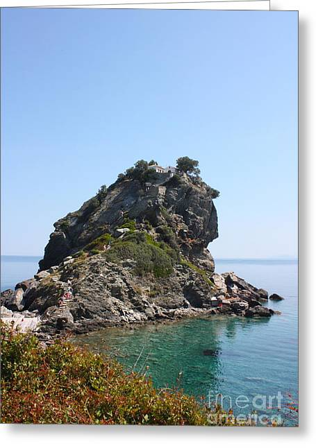Mamma Mia Church Skopelos Greeting Card by Yvonne Ayoub