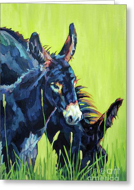 Baby Donkey Greeting Cards - Mammas Boy Greeting Card by Patricia A Griffin