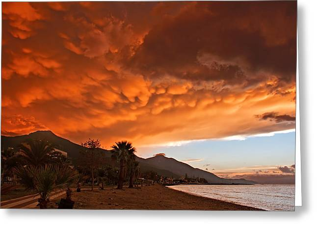 Mammatus Clouds Forming At Sunset Ahead Of Severe Thunderstorm Greeting Card by Ken Biggs