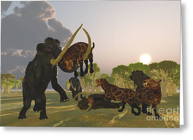 Saber Greeting Cards - Mammoth and Saber Tooth Cat Greeting Card by Corey Ford