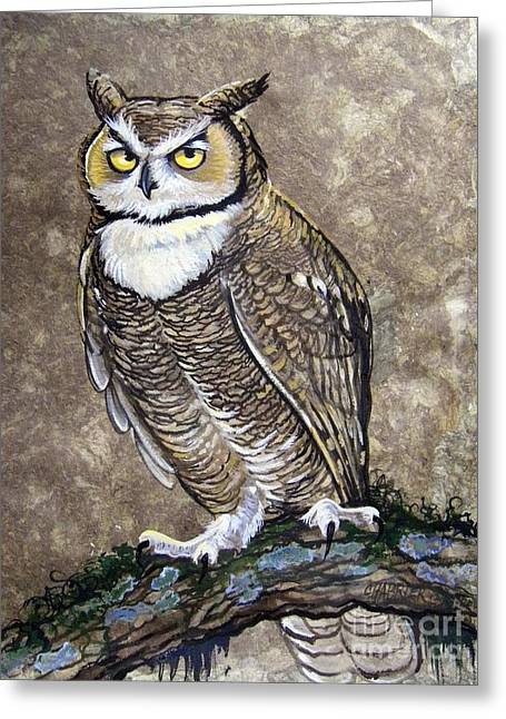 Amate Bark Paper Greeting Cards - Mammoth Hunters Great Horned Owl Greeting Card by Anne Shoemaker-Magdaleno